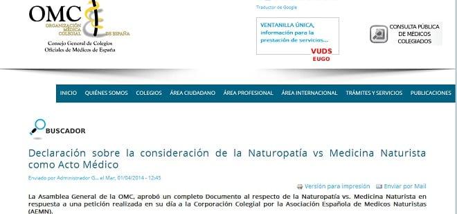 Reconocimiento de la medicina naturista como acto médico